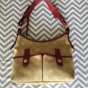 Dooney & Bourke Red Shoulder Bag Canvas Genuine